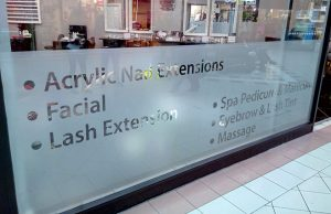 window graphics, manifestation frosted vinyl, Safety Window Film, large format print